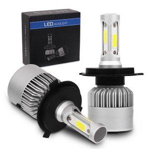 Автомобилни LED Крушки с директен монтаж - цокъл H4. 3 диода - два за къса светлина и един за дълга - 6500К Келвина и 8000 лумена LM