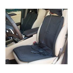 Универсален калъф за седалка с нагряване 12V. Мощност 60W Възможност за регулиране на степента на нагряване - ниска и висока степен. Температурата може да достигне 40-60°C. Защита против прегряване. Стабилно закрепване чрез еластични ленти. Изключително подходяща за употреба през зимния сезон. Универсална за всички автомобилни седалки, включително модели, оборудвани със странични въздушни възглавници. Материал Полиестер Размер 91см х 45см Посочената цена е за 1бр.