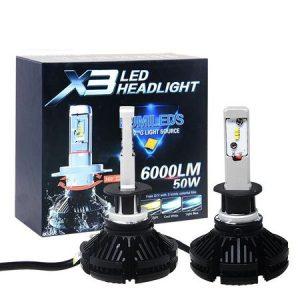 Комплект LED Лед Диодни Крушки за фар X3 Amio H1 - 50W 12000 Lm Над 200% по-ярка светлина.